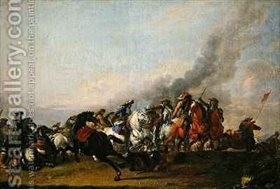 Collision of the Cavalry by Jacques (Le Bourguignon) Courtois - Reproduction Oil Painting