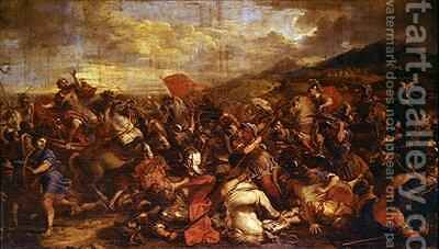 The Battle of the Arbelles by Jacques (Le Bourguignon) Courtois - Reproduction Oil Painting