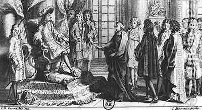Members of the French Academy presenting the dictionary to Louis XIV 1638-1715 in 1694 by (after) Corneille, Jean-Baptiste - Reproduction Oil Painting