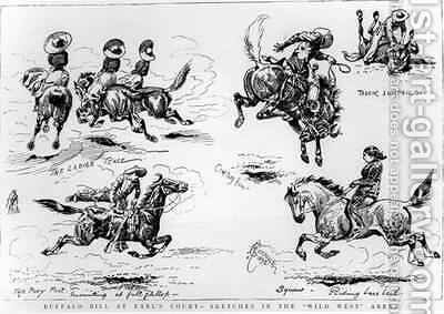 Sketches from Buffalo Bills Wild West Show at Earls Court by Alfred Chantrey Corbould - Reproduction Oil Painting