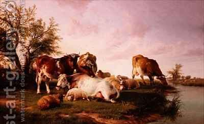 Sheep and Cattle Grazing by a Riverbank by (after) Cooper, Thomas Sidney - Reproduction Oil Painting