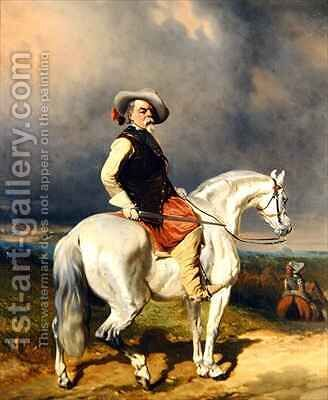 Cavalier on a White Horse by Abraham Cooper - Reproduction Oil Painting