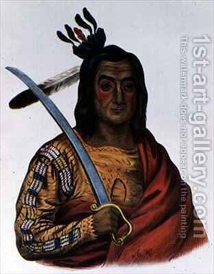 Mou Ka Ush Ka or The Trembling Earth a Yankton Sioux Chief by (after) Cooke, George - Reproduction Oil Painting