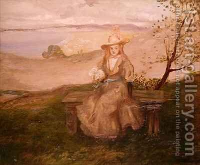 Girl with a bouquet above Swanage Bay by Charles Edward Conder - Reproduction Oil Painting