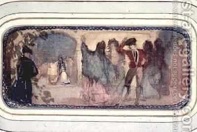 A Spanish Scene Figures and Buildings by Charles Edward Conder - Reproduction Oil Painting