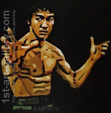 Bruce Lee Fight Stance by Pop Art - Reproduction Oil Painting