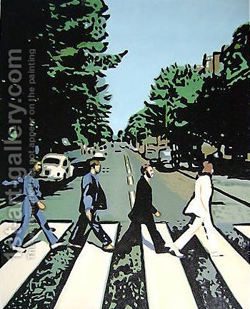 The Beatles Abbey Road by Pop Art - Reproduction Oil Painting