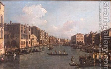 The Grand Canal Near the Rialto Bridge by (Giovanni Antonio Canal) Canaletto - Reproduction Oil Painting