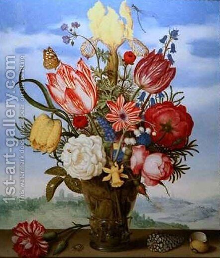Bouquet of Flowers on a Ledge by Ambrosius the Elder Bosschaert - Reproduction Oil Painting
