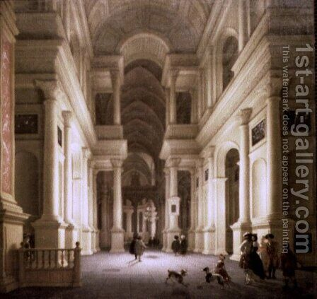 Interior of a Church at Night by De Lorme and Ludolf De Jongh Anthonie - Reproduction Oil Painting
