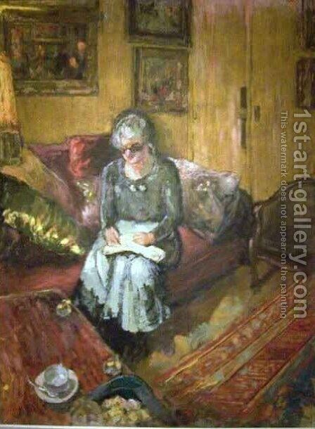 Madame Hessel in the Boudoir Rue de Naples by Edouard  (Jean-Edouard) Vuillard - Reproduction Oil Painting