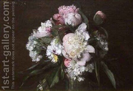 Peonies White Carnations and Roses by Ignace Henri Jean Fantin-Latour - Reproduction Oil Painting