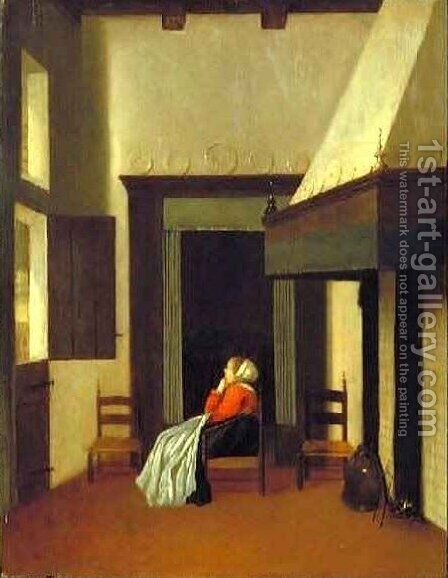 Interior with Seated Woman by Jacobus Vrel - Reproduction Oil Painting