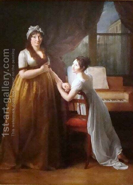 La Comtesse de Morel Vinde and Her Daughter by Baron Francois Gerard - Reproduction Oil Painting