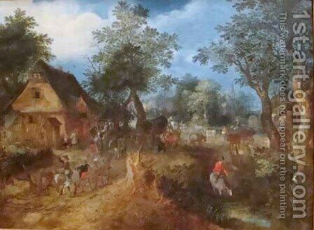 Village Scene in the Woods by Abraham Govaerts - Reproduction Oil Painting