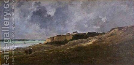 Cliffs at Villerville sur Mer by Charles-Francois Daubigny - Reproduction Oil Painting