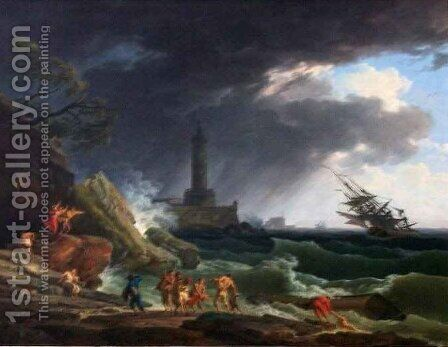 A Storm on a Mediterranean Coast 2 by Claude-joseph Vernet - Reproduction Oil Painting