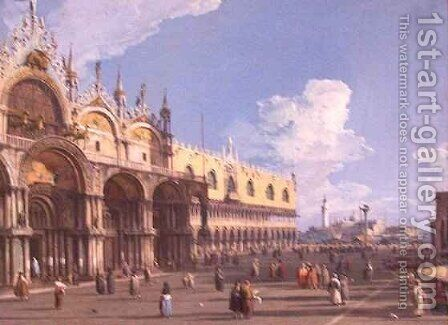 View of Venice with St Marks by (Giovanni Antonio Canal) Canaletto - Reproduction Oil Painting