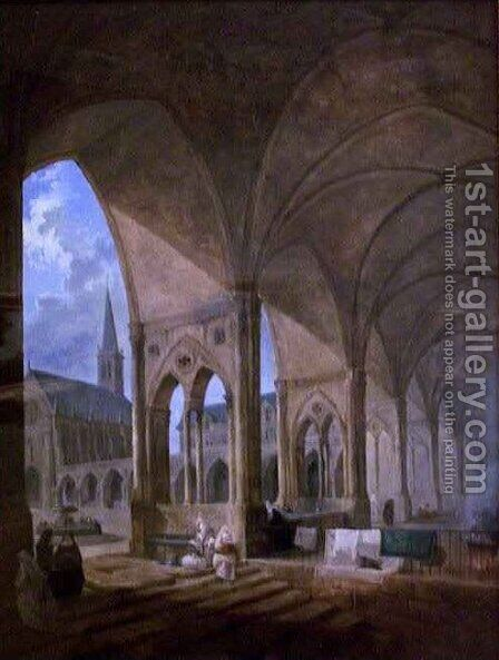 The Cloister of the Augustinian Nuns by Hubert Robert - Reproduction Oil Painting