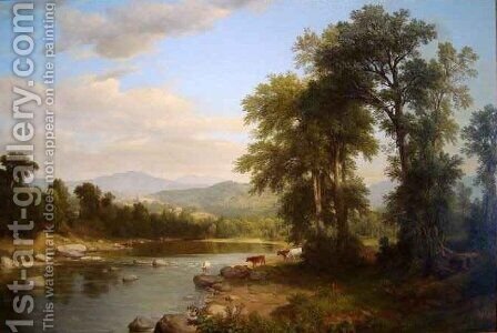A River Landscape by Asher Brown Durand - Reproduction Oil Painting