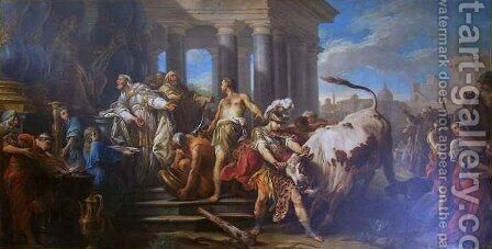 Theseus Vanquisher of the Bull of Marathon by Charles-Amedee-Philippe van Loo - Reproduction Oil Painting