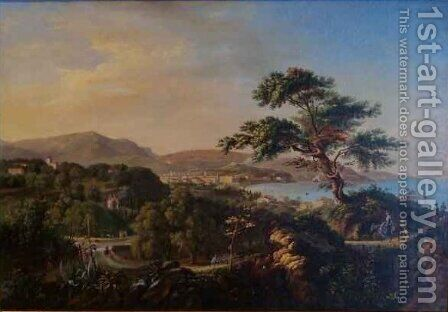 View of Nice from the Hills of La Conque beneath St Philippe by Hippolyte Cais de Pierlas - Reproduction Oil Painting