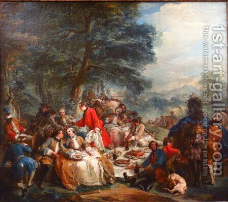 Halte de Chasse by Charles-André van Loo - Reproduction Oil Painting