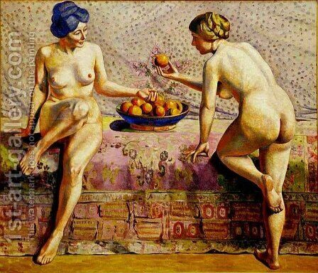 Les femmes a la coup d oranges by Agutte Georgette - Reproduction Oil Painting