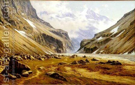 The Valley of the Veneon at St Christophe in Oisans by Charles Bertier - Reproduction Oil Painting