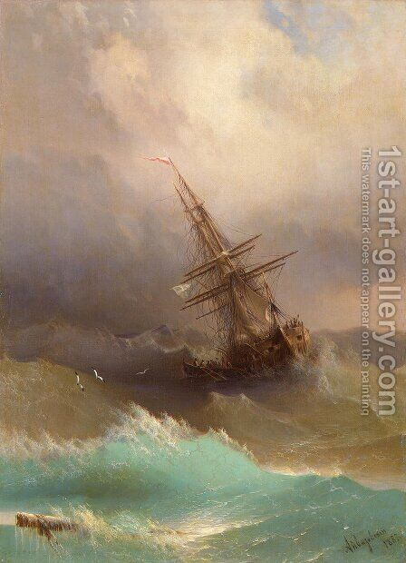 Ship in the Stormy Sea by Ivan Konstantinovich Aivazovsky - Reproduction Oil Painting
