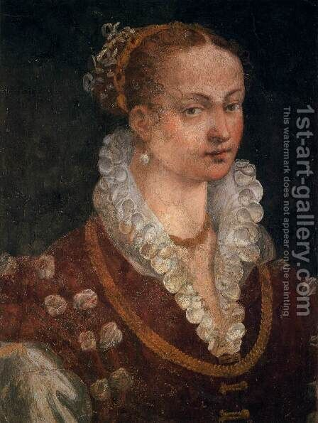 Portrait of Bianca Cappello, Second Wife of Francesco I de' Medici by Alessandro Allori - Reproduction Oil Painting