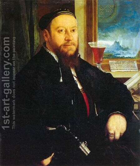 Portrait of Matthaus Schwarz by Christoph Amberger - Reproduction Oil Painting