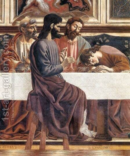 Last Supper (detail) by Andrea Del Castagno - Reproduction Oil Painting