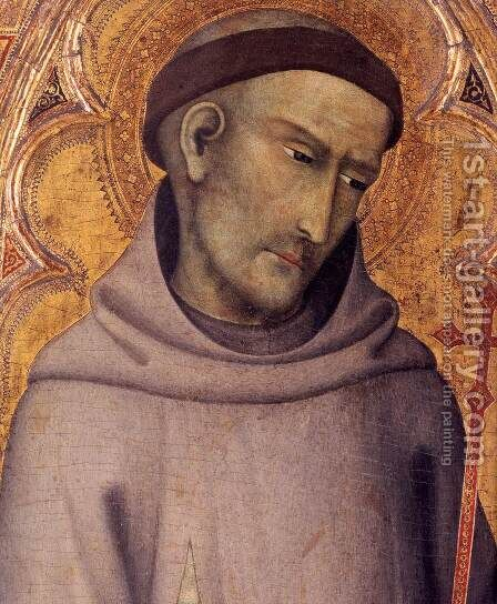 St Francis of Assisi (detail) by di Vanni d'Andrea Andrea - Reproduction Oil Painting