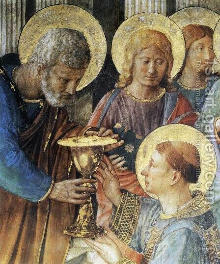 St Peter Consacrates Stephen as Deacon (detail) by Angelico Fra - Reproduction Oil Painting