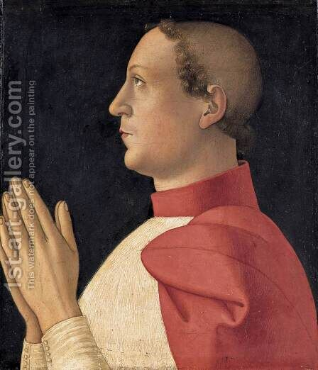 Profile Portrait of Cardinal Philippe de Levis by Antoniazzo Romano - Reproduction Oil Painting