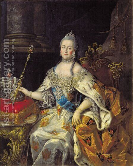 Portrait of Catherine II 2 by Aleksei Antropov - Reproduction Oil Painting