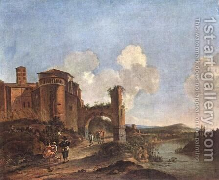 Italian Landscape with SS. Giovanni e Paolo in Rome 2 by Jan Asselyn - Reproduction Oil Painting