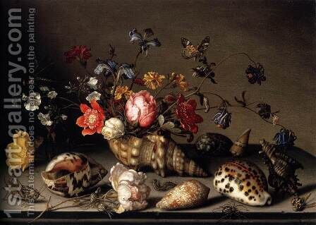 Still-Life of Flowers, Shells, and Insects 2 by Balthasar Van Der Ast - Reproduction Oil Painting