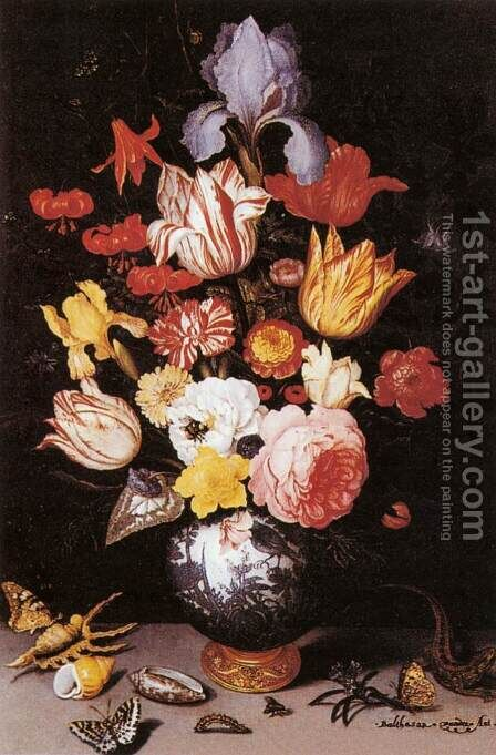 Flower Still-Life with Shell and Insects by Balthasar Van Der Ast - Reproduction Oil Painting
