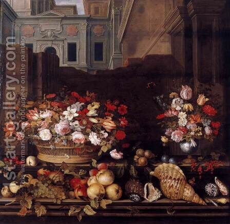 Still-Life with Flowers, Fruit, and Shells 2 by Balthasar Van Der Ast - Reproduction Oil Painting