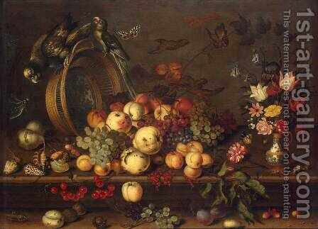 Still-Life with Fruits, Shells and Insects by Balthasar Van Der Ast - Reproduction Oil Painting