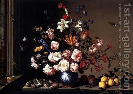 Vase of Flowers by a Window 2 by Balthasar Van Der Ast - Reproduction Oil Painting