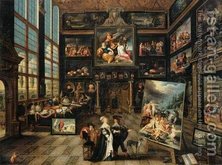 Interior of a Collector's Gallery of Paintings and Objets d'Art by Cornelis de Baellieur - Reproduction Oil Painting