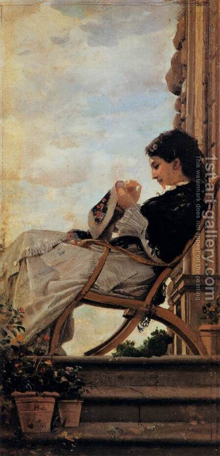 Woman Sewing on the Terrace by Cristiano Banti - Reproduction Oil Painting