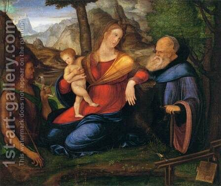 Virgin and Child Flanked by St John the Baptist and St Anthony Abbot by Jacopo de Barbari - Reproduction Oil Painting