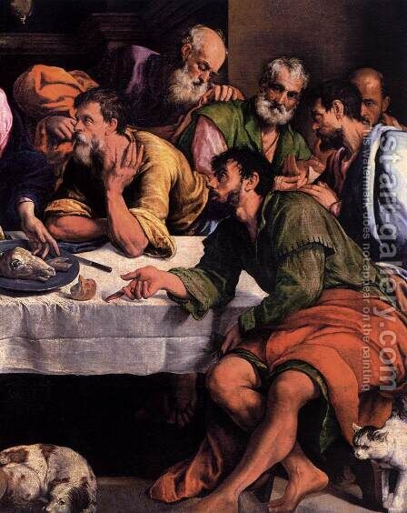 The Last Supper (detail) 2 by Jacopo Bassano (Jacopo da Ponte) - Reproduction Oil Painting