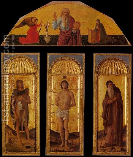 Triptych of St Sebastian by Jacopo Bellini - Reproduction Oil Painting