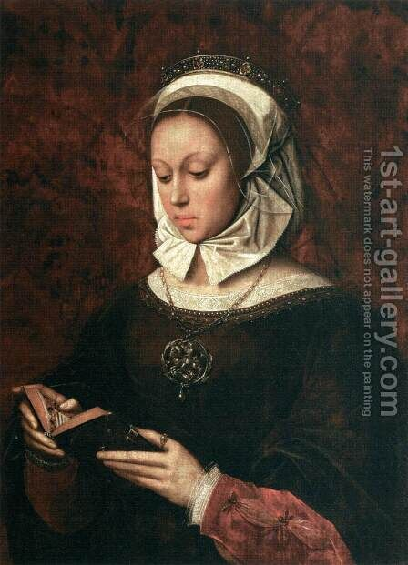 Young Woman in Orison Reading a Book of Hours by Ambrosius Benson - Reproduction Oil Painting