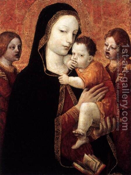 Virgin and Child with Two Angels by Ambrogio Bergognone - Reproduction Oil Painting
